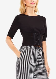Vince Camuto Corset-Laced Cropped Blouse