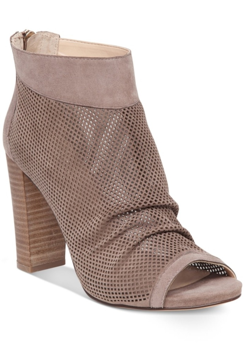 Vince Camuto Cosima Perforated Block-Heel Booties Women's Shoes