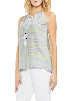 Vince Camuto Cotton Blend Gauze Halter Top