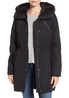 Vince Camuto Cotton Canvas Anorak with Faux Fur Trim Hood