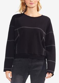 Vince Camuto Cotton Drop-Shoulder Contrast-Seam Sweatshirt