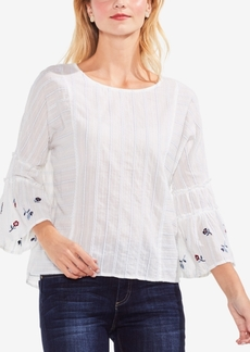 Vince Camuto Cotton Embroidered-Sleeve Top