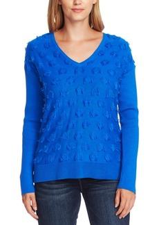 Vince Camuto Cotton Fringe-Dot Sweater