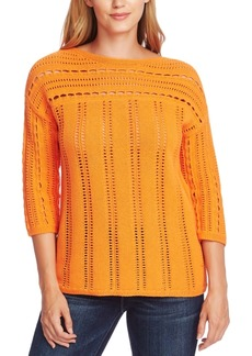 Vince Camuto Cotton Open-Stitch Boat-Neck Sweater