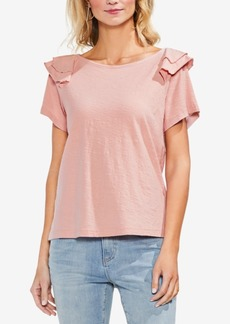 Vince Camuto Cotton Tiered Ruffled-Shoulder Top