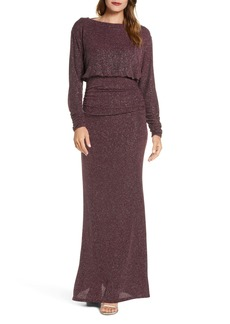 Vince Camuto Cowl Back Metallic Long Sleeve Gown