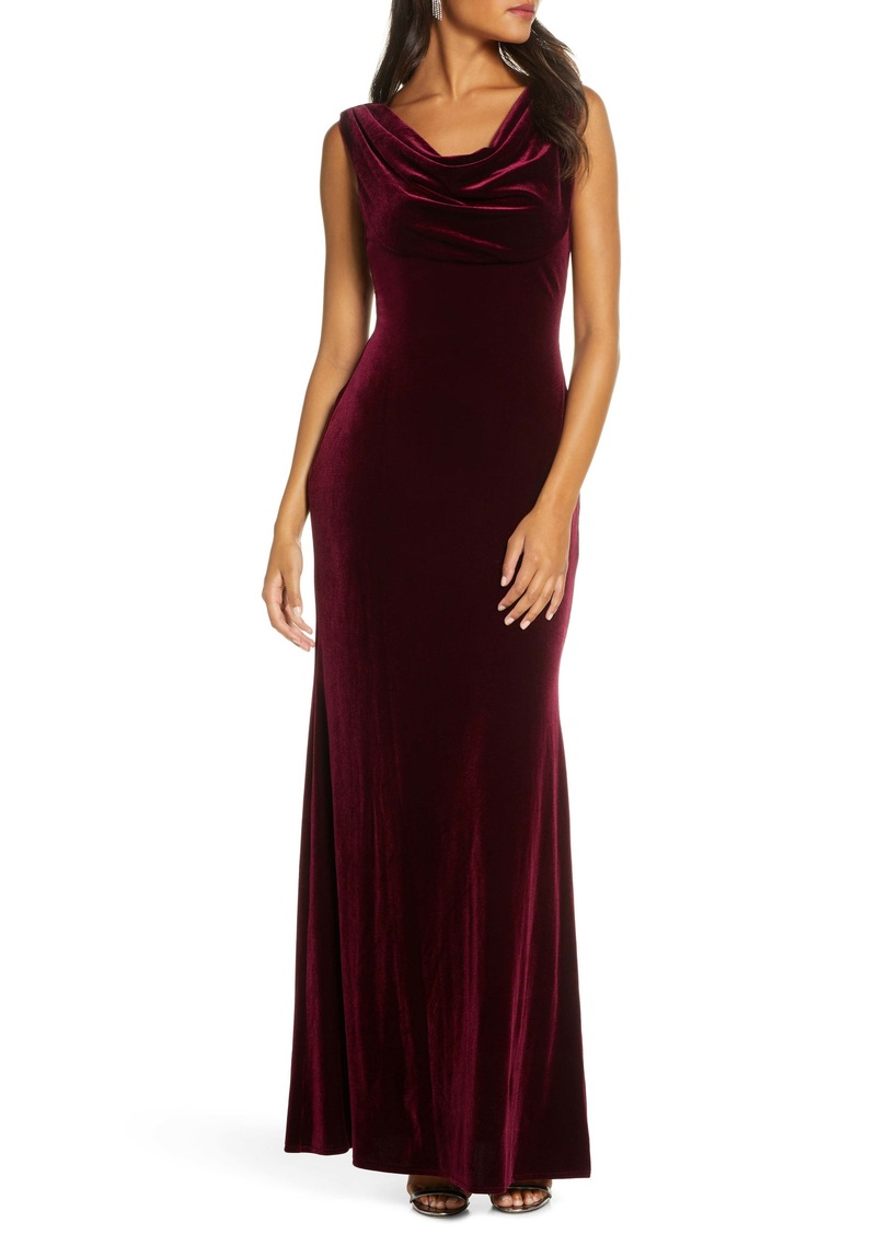 Vince Camuto Cowl Neck Velvet Gown