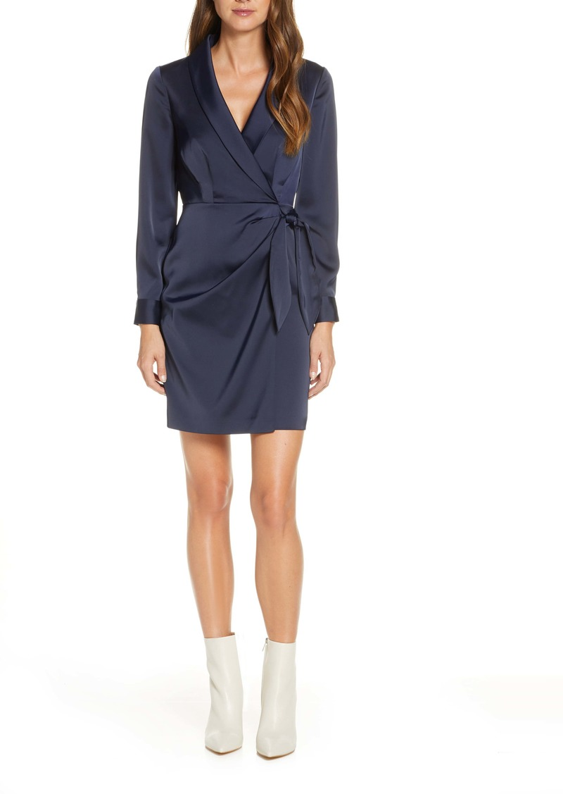 Vince Camuto Crepe Back Satin Long Sleeve Faux Wrap Dress