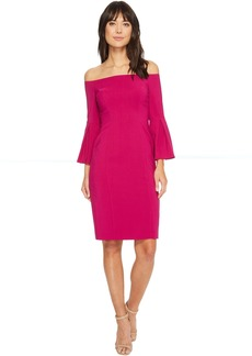Vince Camuto Crepe Bodycon Dress w/ Flounce Sleeves