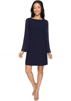 Vince Camuto Crepe Chiffon Shirt Dress w/ Overlay & Pleated Sleeves