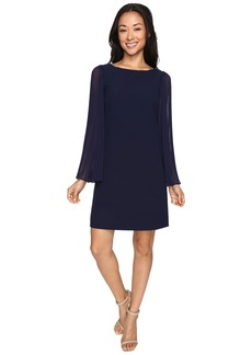 Vince Camuto Crepe Chiffon Shirt Dress w/ Overlay & Pleated Sleeves