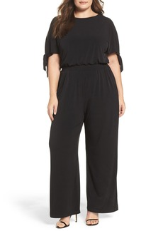 Vince Camuto Crepe Cold Shoulder Jumpsuit (Plus Size)