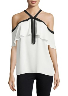 Vince Camuto Crepe Cold-Shoulder Top