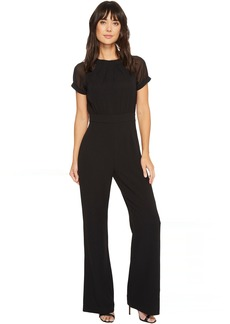 Vince Camuto Crepe Jumpsuit w/ Chiffon Sleeves