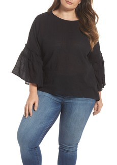 Vince Camuto Crinkle Cotton Blouse (Plus Size)