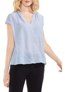 Vince Camuto Crinkle Cotton V-Neck Blouse (Regular & Petite)