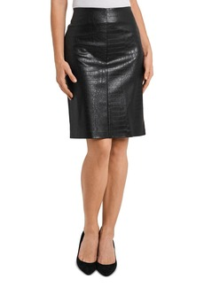 VINCE CAMUTO Croc Embossed Faux Leather Skirt