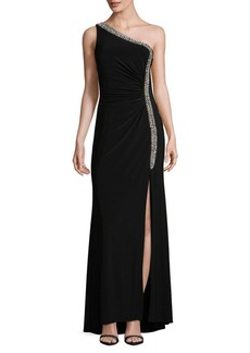 Vince Camuto Crystal Embellished One-Shoulder Gown