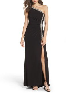 Vince Camuto Crystal Trim One-Shoulder Gown