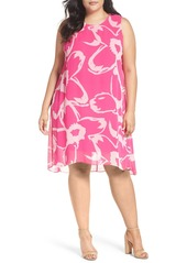 Vince Camuto Cutout Floral Chiffon Overlay Shift Dress (Plus Size)