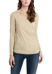 Vince Camuto Cutout Long Sleeve Sparkle Jersey Top