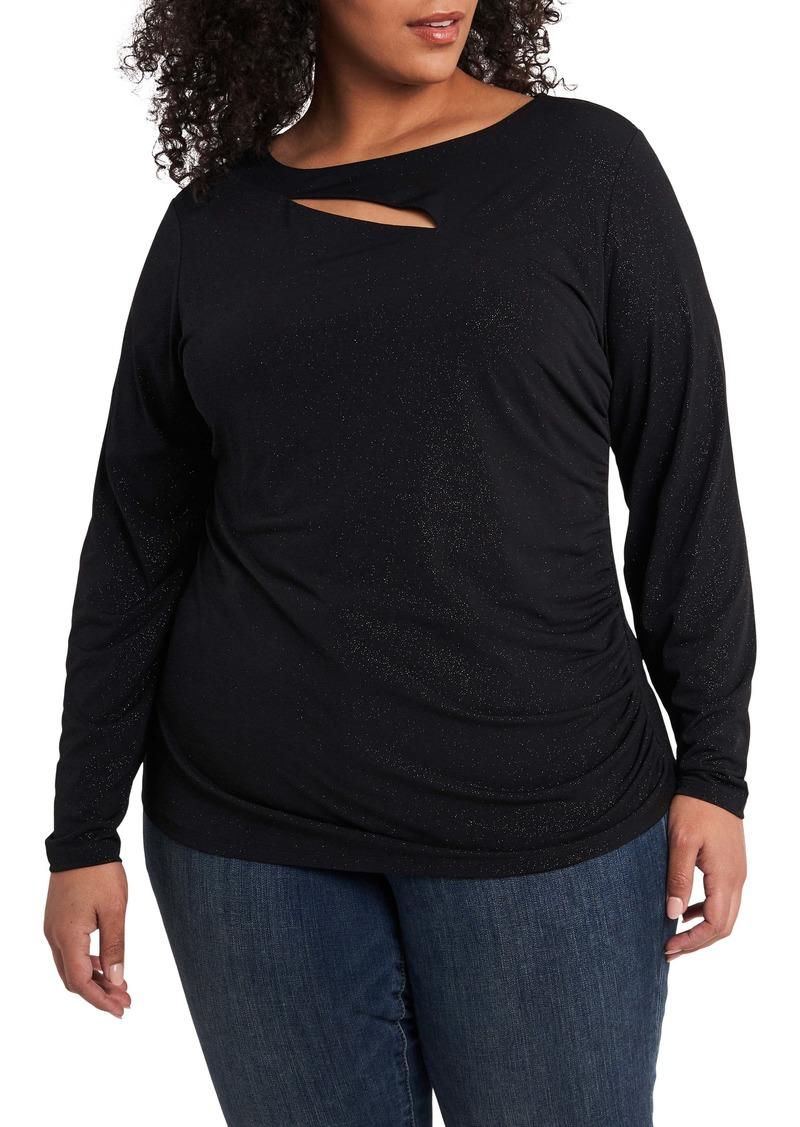 Vince Camuto Cutout Long Sleeve Sparkle Jersey Top (Plus Size)