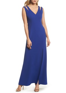 Vince Camuto Cutout Shoulder Scuba Gown