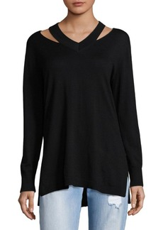 Vince Camuto Cutout V-Neck Pullover