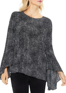VINCE CAMUTO Dash Print Bell Sleeve Blouse