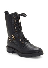 Vince Camuto Dedianna Croc Embossed Leather Combat Boot (Women)