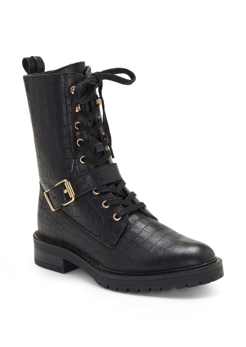 Vince Camuto Dedianna Croc Embossed Leather Combat Boot (Women)