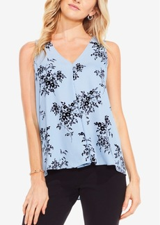 Vince Camuto Delicate Bouquet Printed V-Neck Top