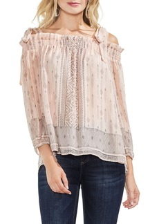 Vince Camuto Delicate Diamond Geo Cold Shoulder Top (Regular and Petite)