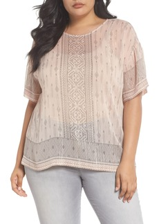 Vince Camuto Delicate Diamond Geo Sheer Top (Plus Size)