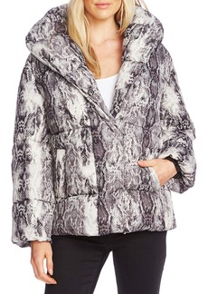 Vince Camuto Demure Snake Print Hooded Puffer Coat