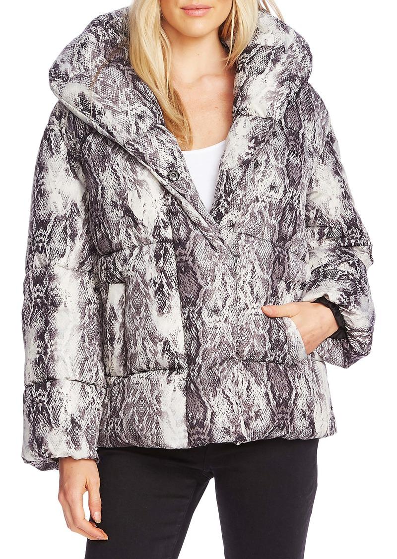 Vince Camuto Demure Snake Print Hooded Puffer Coat