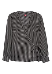 Vince Camuto Diagonal Stripe Crêpe de Chine Long Sleeve Side Tie Blouse