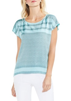 Vince Camuto Diamond Geo Panel Blouse