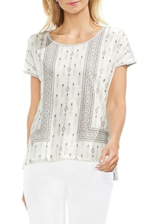 Vince Camuto Diamond Print Mixed Media Top