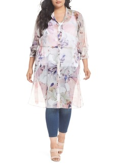 Vince Camuto Diffused Bloom Tunic Dress (Plus Size)