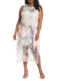 Vince Camuto Diffused Blooms Overlay Midi Dress (Plus Size)