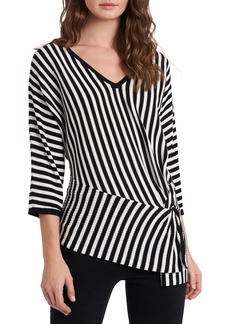 Vince Camuto Directional Stripe Asymmetrical Cotton Blend Sweater