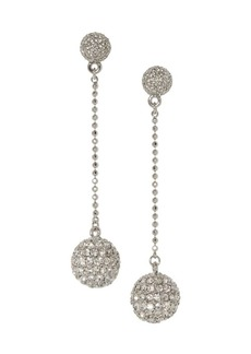 Vince Camuto Disco Ball Silvertone & Crystal Linear Drop Earrings