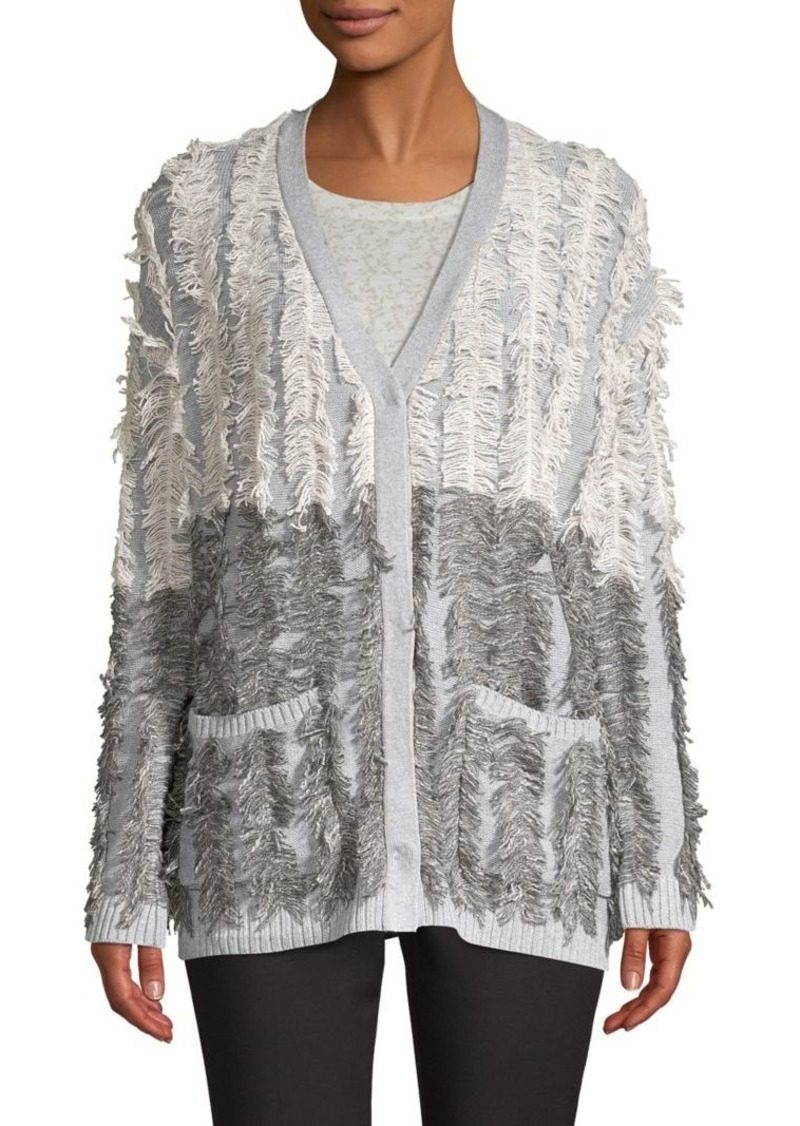 Vince Camuto Distressed Cotton-Blend Cardigan