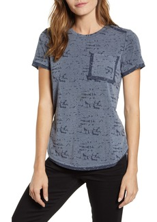 Vince Camuto Distressed Mélange Jersey Tee