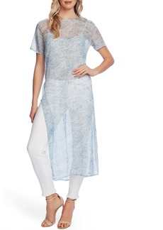 Vince Camuto Distressed Paisley Long Tunic Top