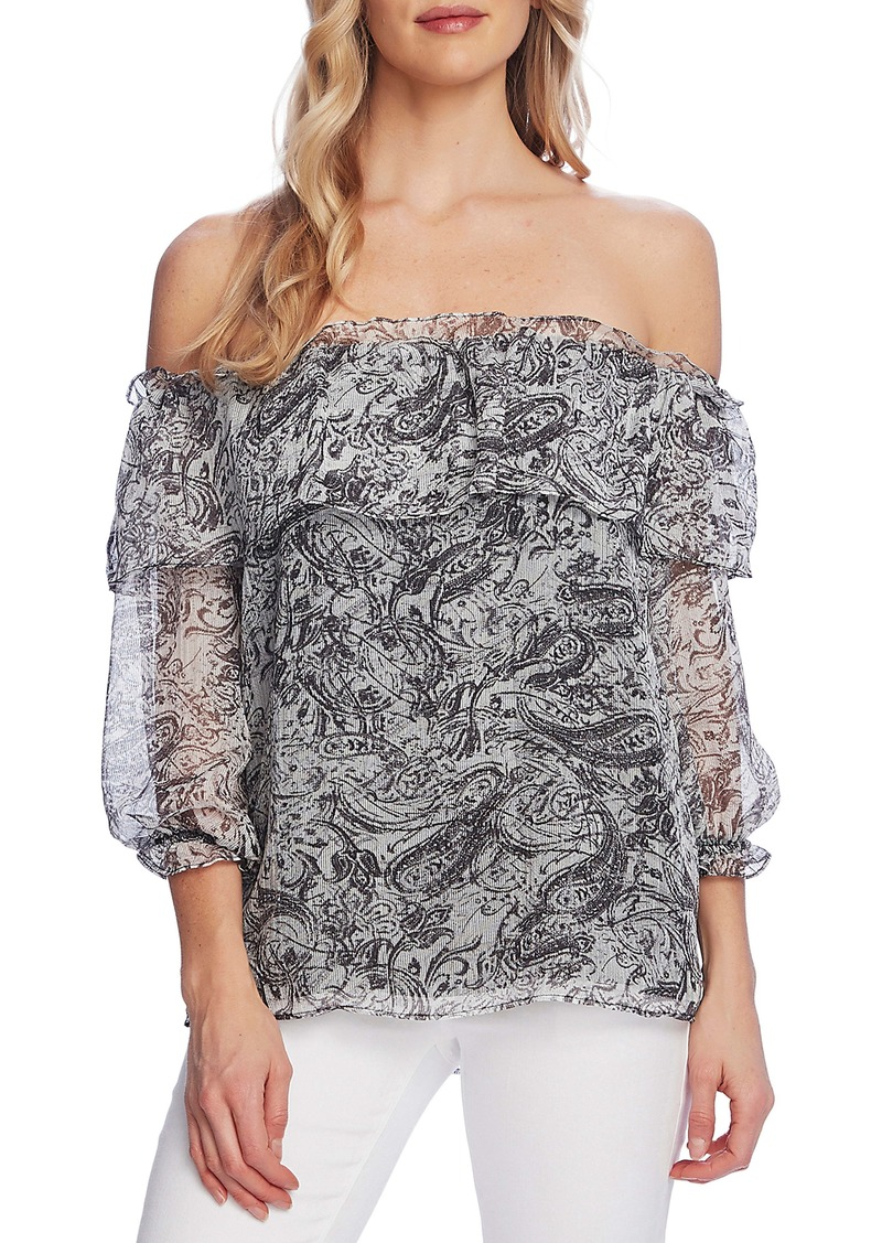 Vince Camuto Distressed Paisley Off the Shoulder Blouse