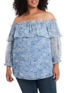 Vince Camuto Distressed Paisley Off the Shoulder Blouse (Plus Size)