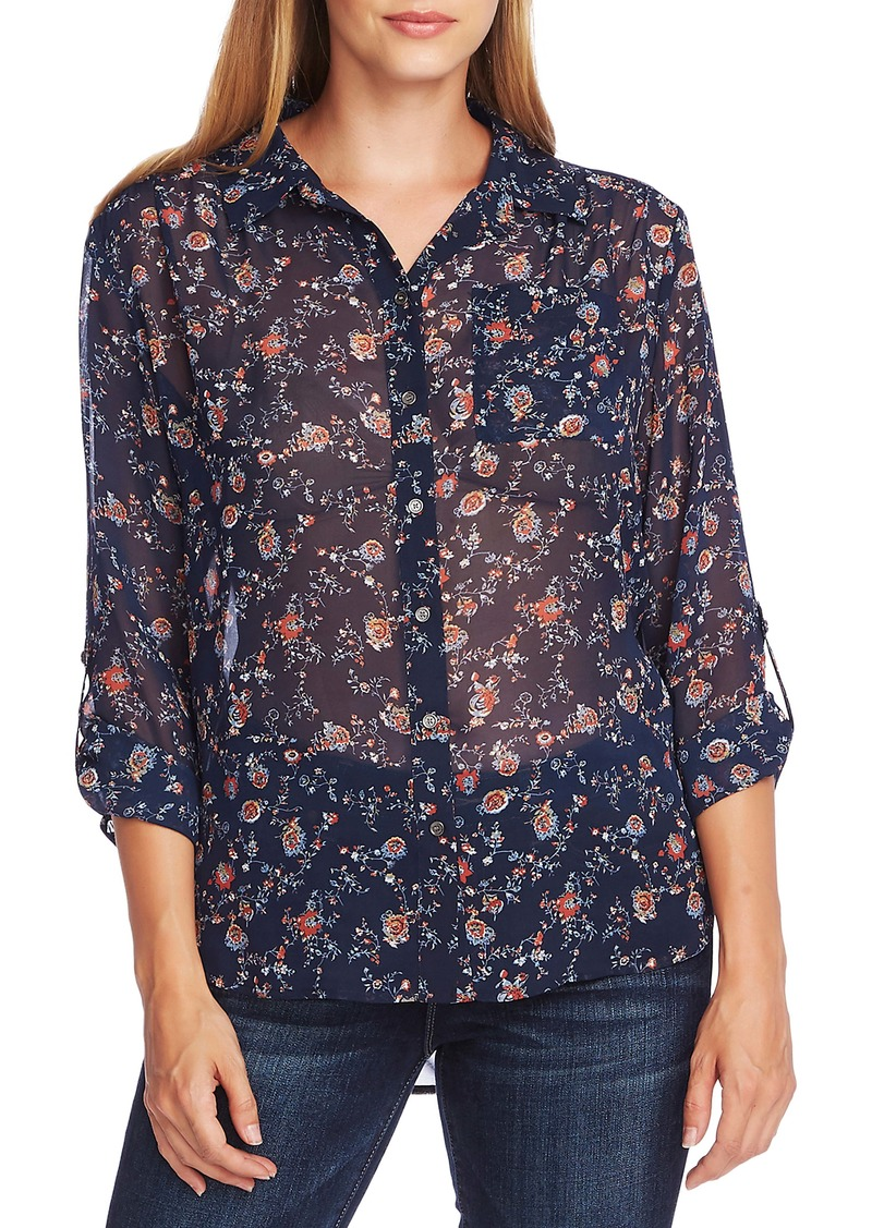 Vince Camuto Ditsy Floral Shirred Shoulder Blouse
