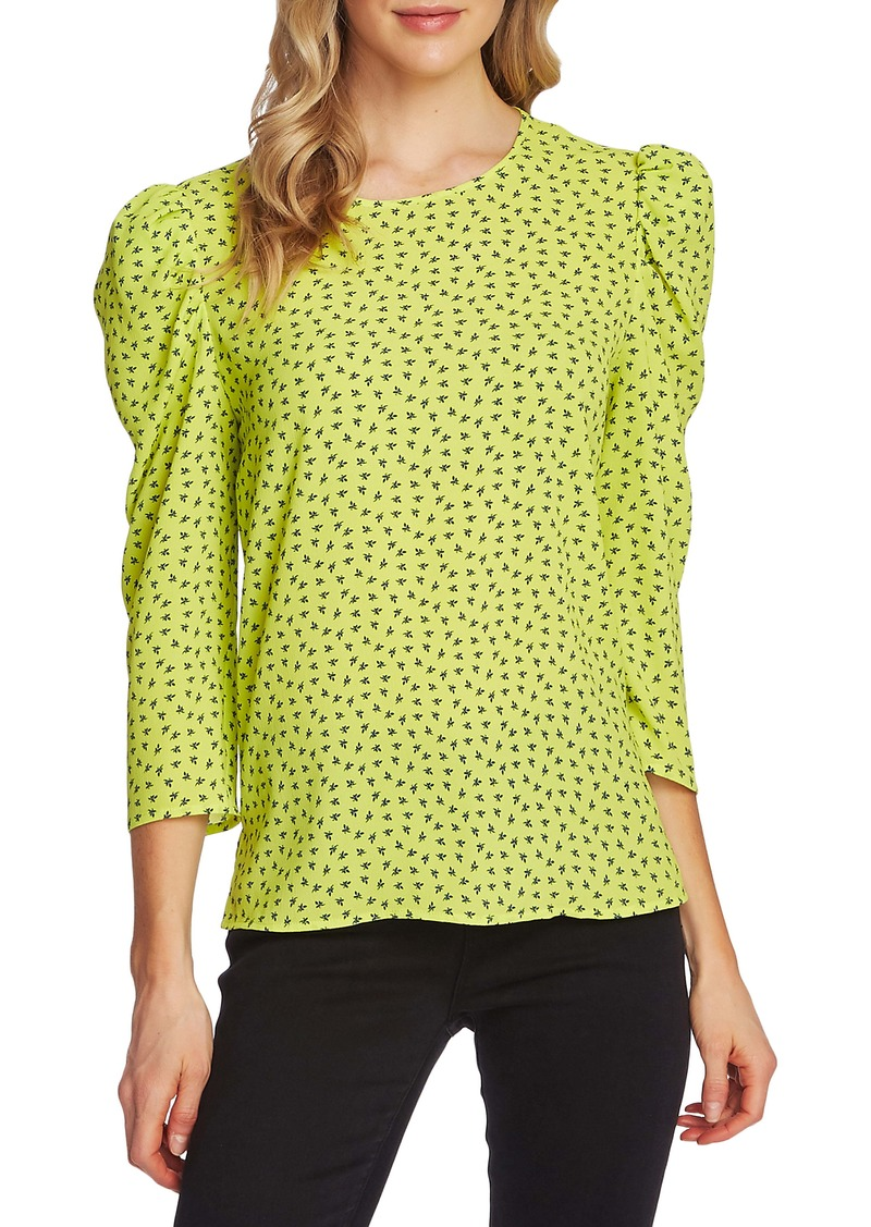 Vince Camuto Ditsy Print Puff Shoulder Top